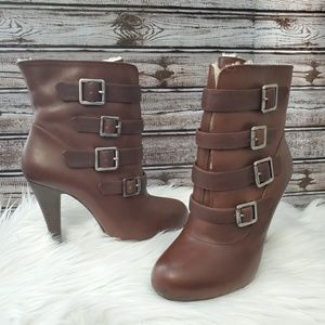 Gianni Bini brown buckle ankle booties